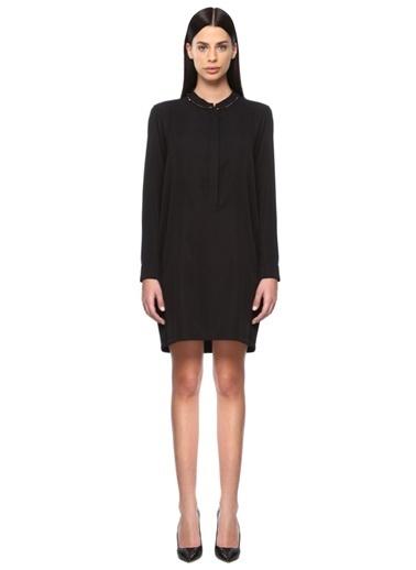 NetWork Uzun Kollu Midi Elbise Siyah